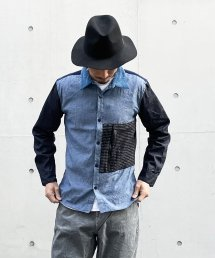 Burnout〔バーンアウト〕 刺し子ポケット クレイジーシャツ(Turquoise Mix)