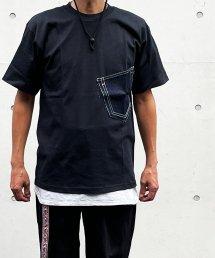 Burnout〔バーンアウト〕 デニムポケットTシャツ+缶バッジ付き(Black)