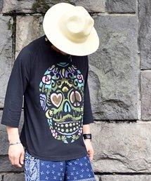 aarticles(アーティクルズ) メキシカンスカルラグランTシャツ / ブラック