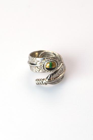 ★受注生産予約 PIKEY(パイキー)Rolled Feather w/stones Ring(Silver925)