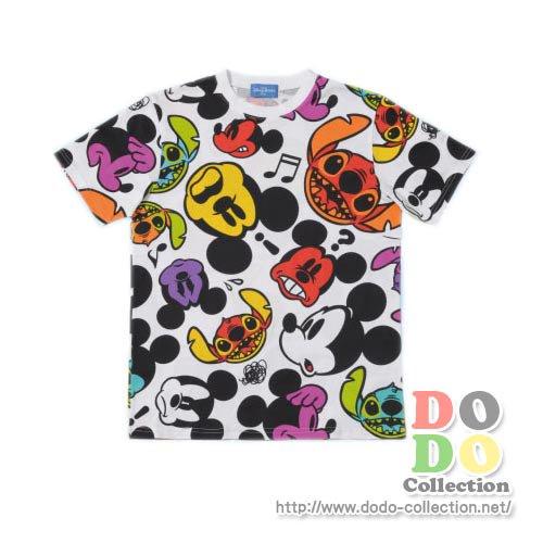 【予約】TDL限定 カラフルフェイス ミッキー&スティッチ Tシャツ 3L♪
