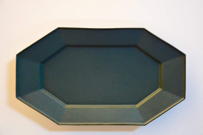 Kalonji縁付八角長方皿/八角プレート/緑