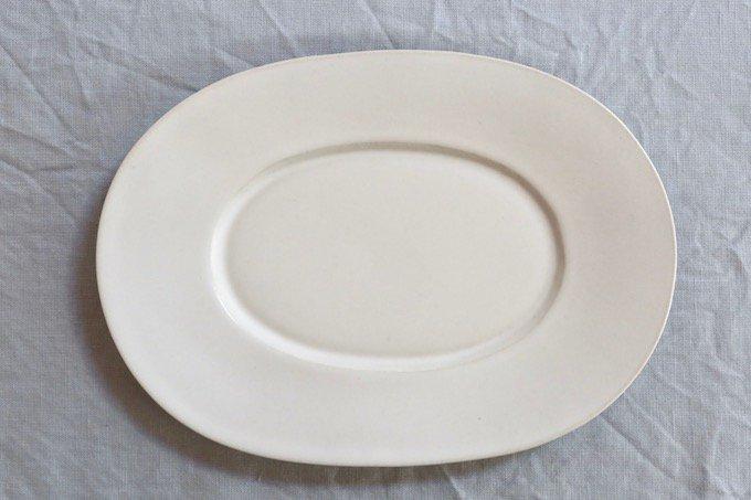 Kalonjiワイドリムオーバル皿/オーバルプレート/白マット