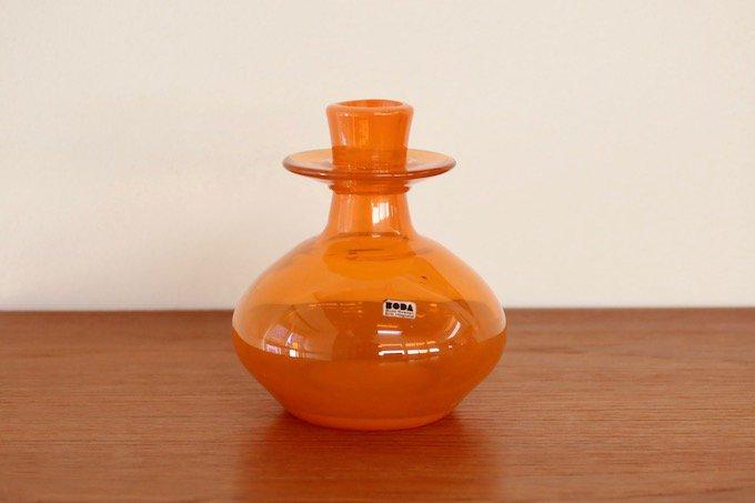 ボダBODAエリック・ホグランErik Hoglundガラス花瓶オレンジ