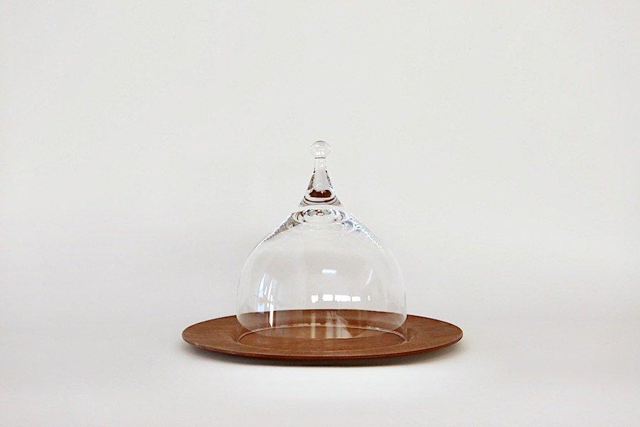 ノルウェーHadeland社製ガラスのチーズドーム&デンマークのチークプレート/クリア