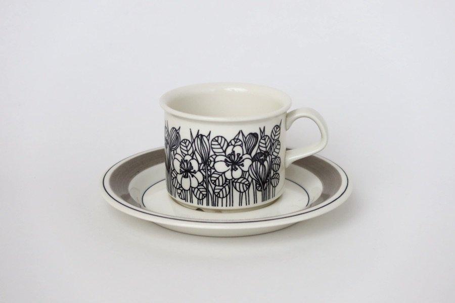 アラビアArabiaクロッカスKrokus/コーヒーカップ&ソーサー/グレーリム