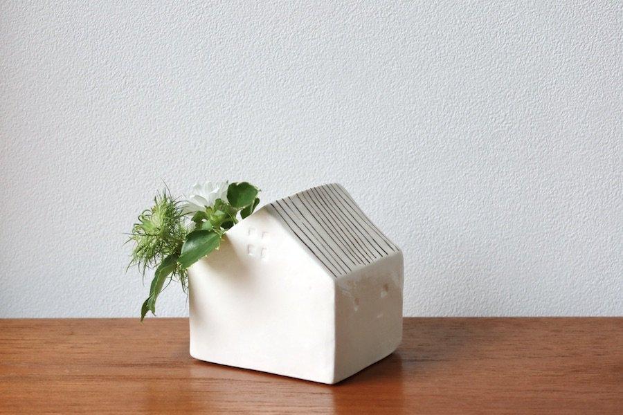 アトリエ・ペルト/Atelier Pelto花の咲く家/フラワーベース/花瓶/縞/ホワイト