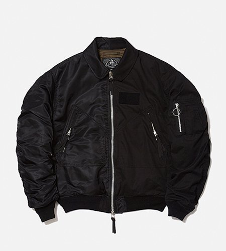<img class='new_mark_img1' src='//img.shop-pro.jp/img/new/icons14.gif' style='border:none;display:inline;margin:0px;padding:0px;width:auto;' />bal バル COMBINE HELI CREW BOMBER JACKET (black)