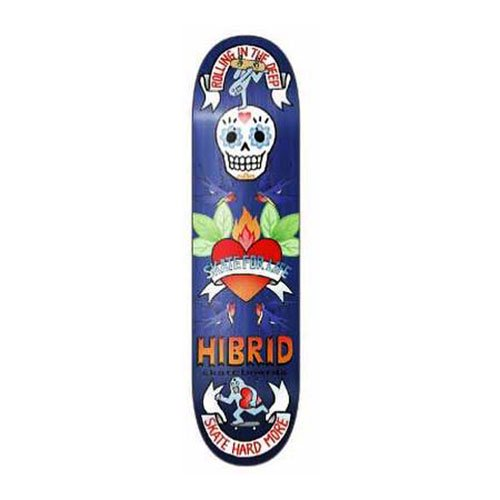 HIBRID skateboards / HI - SKATE HEART - BLUE STAIN  (art work by BENICO TOY) 8インチ