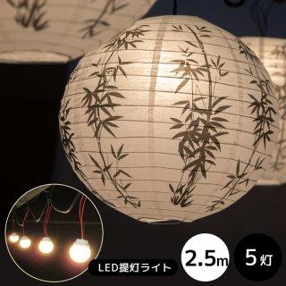 【2年間保証】【受注生産】LED提灯ライト5連灯 全長2.5M【50001】