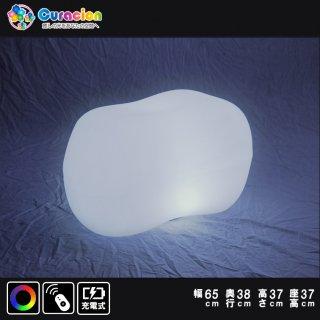 光るLEDファニチャー(家具)「クラシオン」イス ストーンチェア 33cm×33cm×63cm RGB  充電式 リモコン付属(自由に組合せ対象)【HG-CH016】