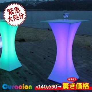 光るLED内蔵家具 ハイテーブル(A) 幅45cm(ガラス面67cm)高さ110cm フルカラー WiFi機能 充電式 (リモコン別売り) 【8016】