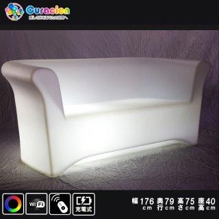 【新型】(選べるリモコン別売り)光るLEDファニチャー(家具)光るイス ライトニングソファチェア 176cm×75cm×75cm RGB WiFi RFリモコン対応 充電式 【80404】