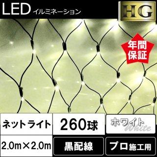 (在庫処分品)【HG定番シリーズ】 260球ネットライト 黒配線 ホワイト 2m×2m【39093】LEDイルミネーションライト