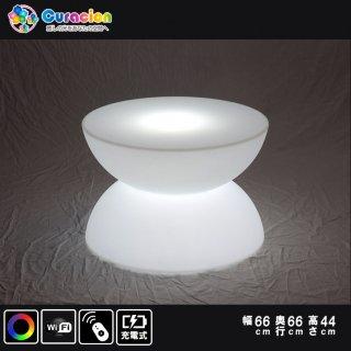 光るLEDファニチャー(家具)「クラシオン」テーブル コーヒーテーブル 66cm×66cm×44cm RGB Wifi RFリモコン対応 充電式【80306】