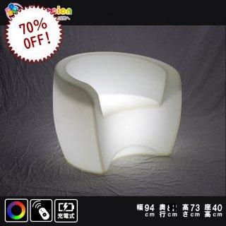 光るLED家具 クラシオン キングソファ 幅94cm奥行82cm高さ73cm(座面40cm) フルカラー 無線充電式 (リモコン付属) 【HG-CH009】