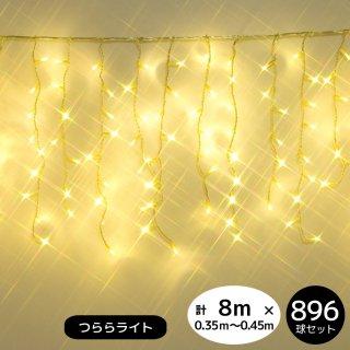 【新モデル/1年間保証】LEDイルミネーションライト  つららライト 896球セット シャンパンゴールド 透明配線(点滅コントローラー電源コード付き)  【4152】
