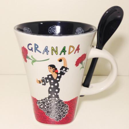 便利スプーン付☆☆ヒターナが踊るマグカップ♪♪OLE MOSAIC