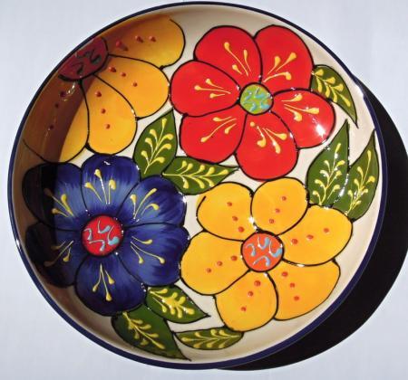 アンダルシアの食卓から☆まあるい花柄の深皿☆VIVA!!B☆大サイズ☆