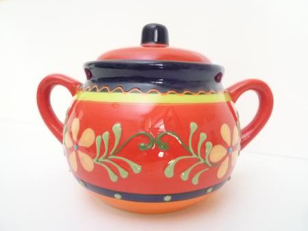スペインカラフル陶器より♪まぁるいお砂糖ポット☆☆Jardin☆☆