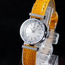 1961年 アンティーク オメガ Ptプラチナ Cal.483 レディース カットガラス 手巻き 【OH済】