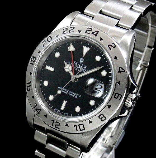 ロレックス -Antique Rolex-   売切れ 1997年頃 ロレックス 16570 エクスプローラー2 ブラック U番 SS 中古 美品【OH済】