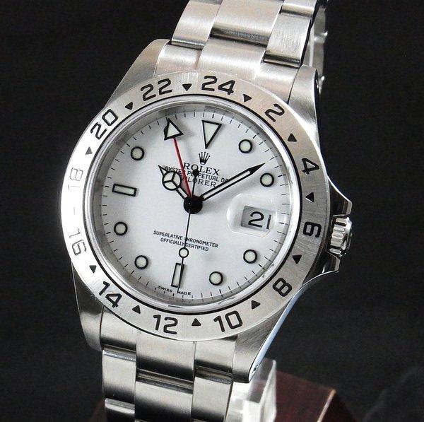 完売【OH済】2002年頃 ロレックス 16570 エクスプローラー2 ホワイト Y番 SS 中古 美品