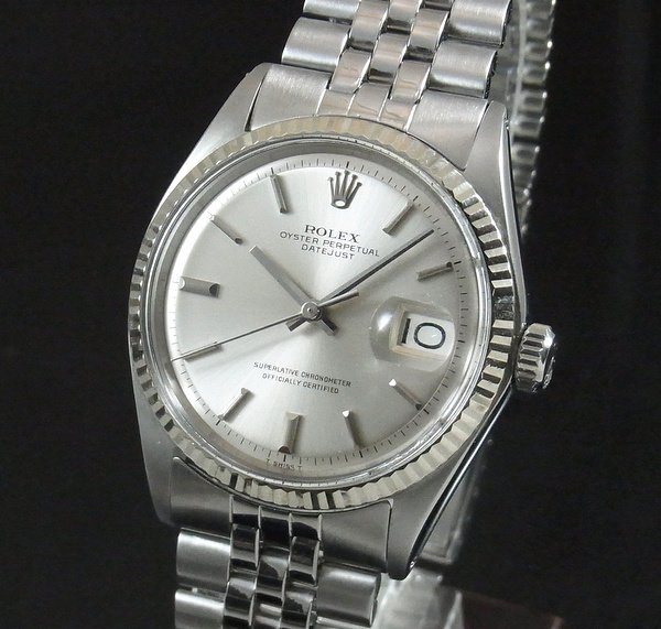ロレックス -Antique Rolex-   売り切れ【OH済】1968年 アンティーク ロレックス デイトジャスト 1601 WGベゼル 出べそ