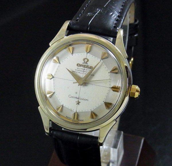 売り切れ【OH済】1959年製 12角 アンティーク オメガ コンステ Cal505 ゴールドキャップ クサビ クロス