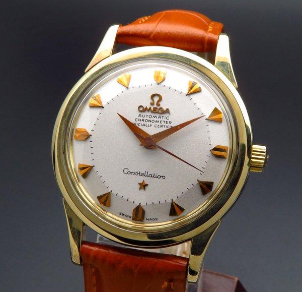 売り切れ 【OH済】1959年製 12角 アンティーク オメガ コンステ Cal505 ゴールドキャップ クサビ
