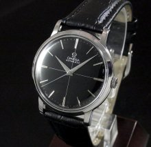 【OH済】1958年 オメガ アンティーク CAL501 ブラック クロスライン文字盤 還暦祝い