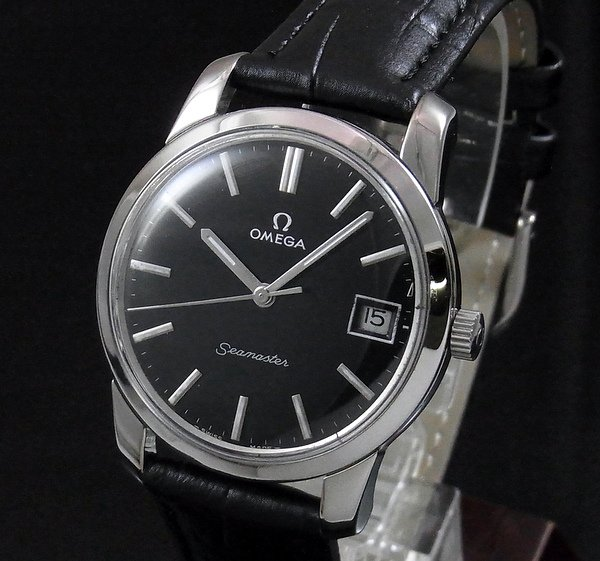 価格別   【OH済】1972年 アンティーク オメガ シーマスター CAL613 日付 手巻き ブラック