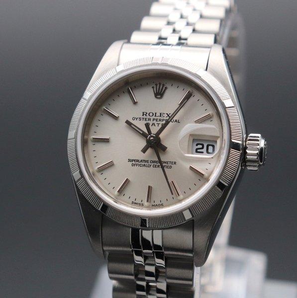 ロレックス - Antique Rolex -   2002年頃 ロレックス SS オイスターパーペチュアル デイト ref79190 エンジンターンド Y番 レディース【OH済】