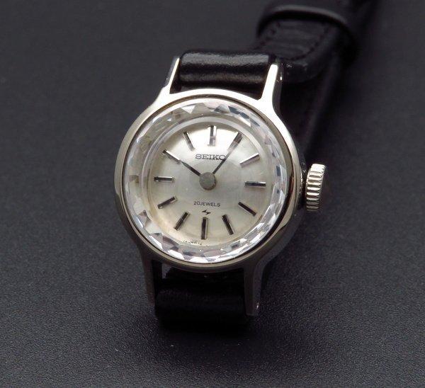 即納品   1969年 K14WG アンティーク セイコー カクテル レディース カットガラス 手巻き 【OH済】