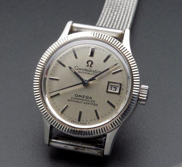 即納品  1970年 アンティーク オメガ コンステ WGコイン CAL685 レディース 自動 オメガブレス【OH済】