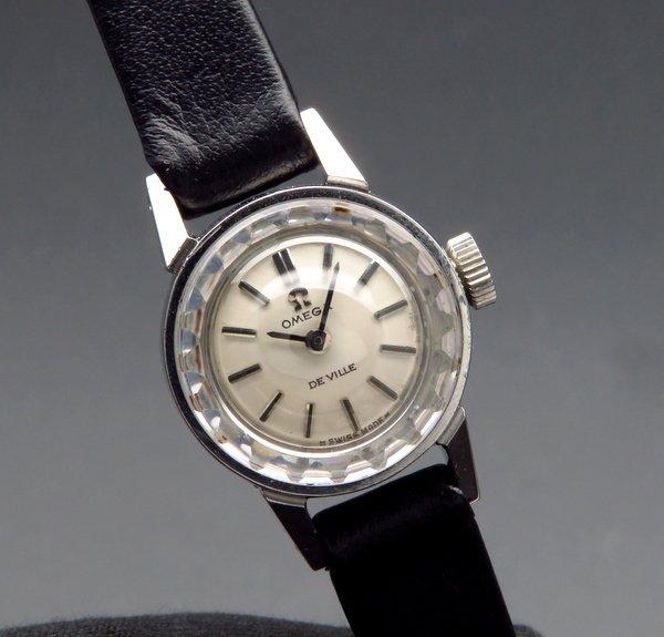 即納品  1970年 アンティーク オメガ デビル cal485 カクテル カットガラス レディース 手巻【OH済】
