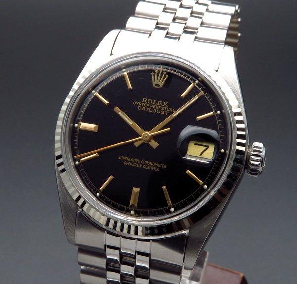 完売 1973年 ロレックス デイトジャスト 1601 WGベゼル アンティーク ブラック【OH済】