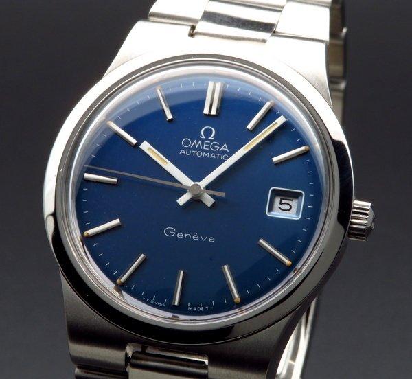 売り切れ 1973年 アンティーク オメガ ジュネーブ Cal1012 ブルー オメガブレス【OH済】