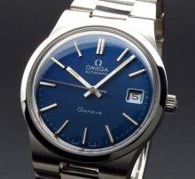 1973年 アンティーク オメガ ジュネーブ Cal1012 ブルー オメガブレス【OH済】