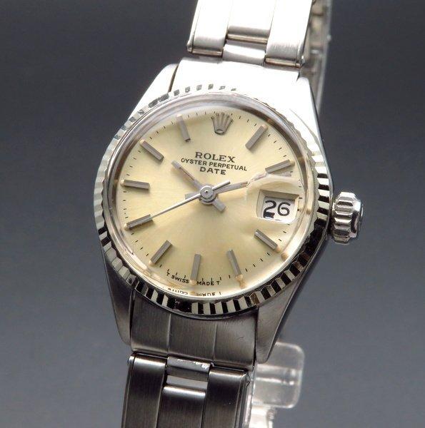 価格別    1963年 アンティーク ロレックス オイスター パーペチュアル デイト 6517 WGベゼル レディース【OH済】