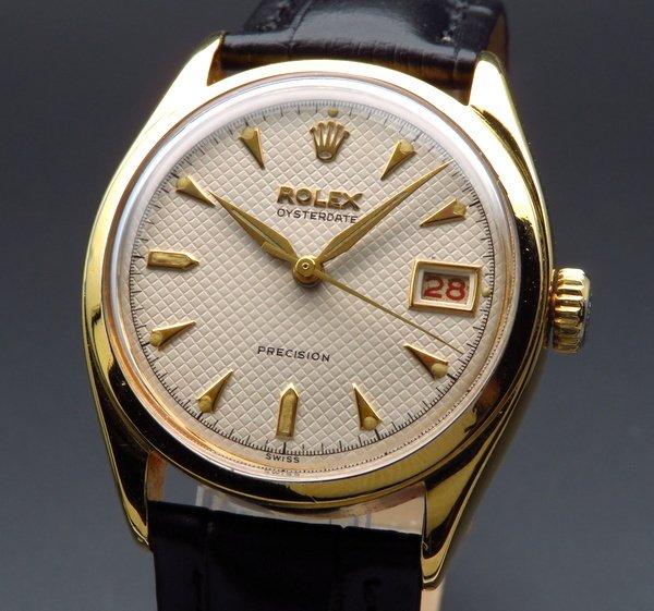 ロレックス - Antique Rolex -   完売 レア 1952年 ロレックス アンティーク ref6094 オイスターデイト クサビ アルファ針 赤黒デイト スーパーオイスター 手巻【OH済】