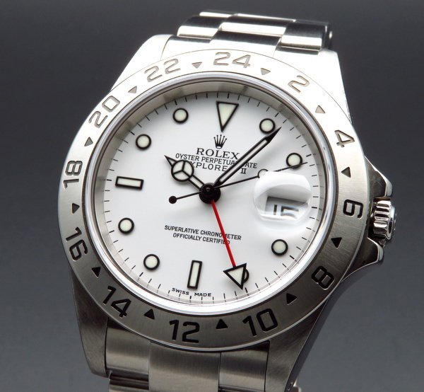 価格別  2001年 ロレックス 16570 エクスプローラー2 ホワイト K番 SS 中古 美品【OH済】