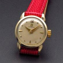 1955年 オメガ アンティーク cal244 手巻き クサビ&ドット文字盤 ゴールド レディース【OH済】