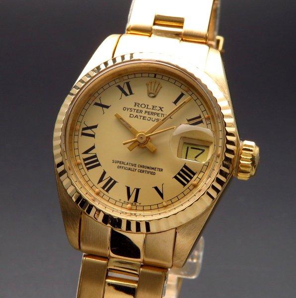 ロレックス - Antique Rolex -   1978年 K18金無垢 アンティーク ロレックス オイスター ref6917 デイトジャスト リベットブレス 出べそバックル レディース 【OH済】