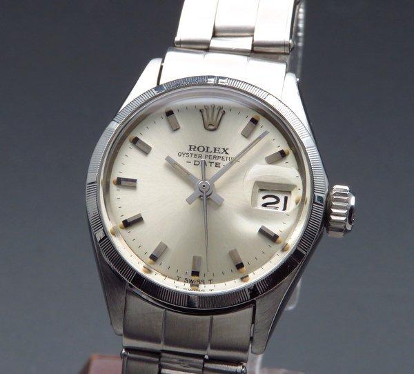 ロレックス - Antique Rolex -   1966年 アンティーク ロレックス オイスター パーペチュアル デイト 6519 エンジンターンド レディース【OH済】