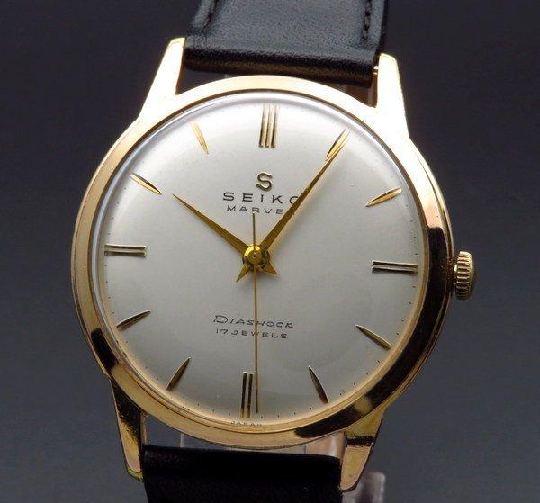 売り切れ 1958年製 アンティーク セイコー マーベル Sマーク 17石 手巻 ゴールドキャップ 36mm【OH済】