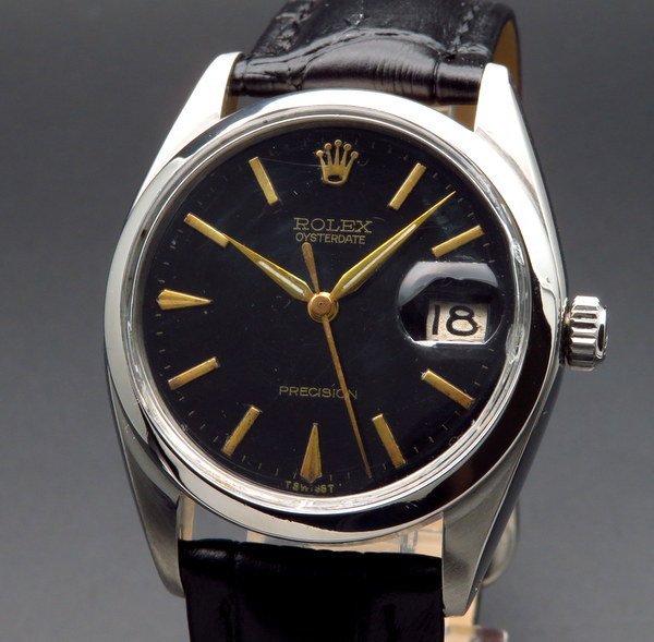 ロレックス - Antique Rolex -   完売 1965年 ロレックス アンティーク ref6694 オイスターデイト 手巻 希少金色インデックス【OH済】