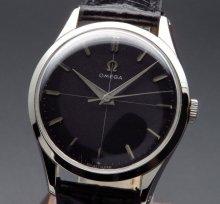 1955年 アンティーク オメガ CAL283 手巻 30�キャリバー ブラック クロス ヴィンテージ【OH済】