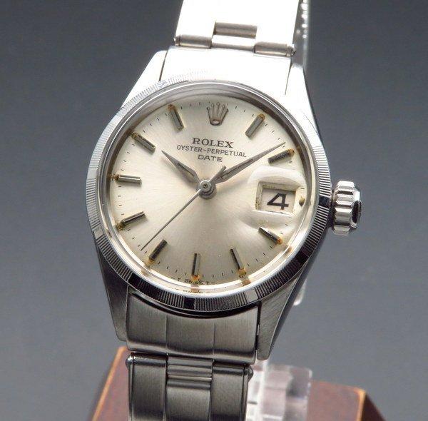 ロレックス - Antique Rolex -   売切れ 1964年 アンティーク ロレックス オイスター パーペチュアル デイト 6519 エンジンターンド アルファ針 リベット 出べそバックル レディース【OH済】