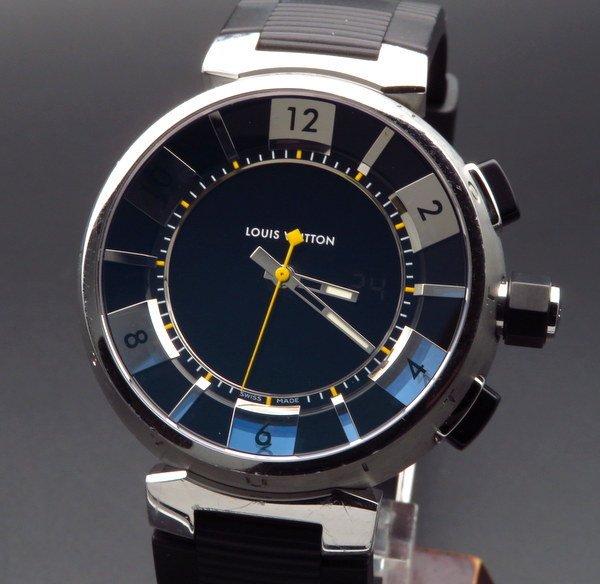 売切れ  LOUISVUITTON【ルイ・ヴィトン】 Q118F タンブールインブラック クォーツ モノグラム ダミエ 腕時計 メンズ USED【メーカーOH済】